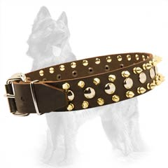 German-Shepherd Leather Dog Collar with Nickel Covered  Buckle and D-Ring