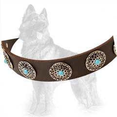 Leather German Shepherd Dog Collar Equipped With Nickel  Covered Hardware And Strengthened With Rivets