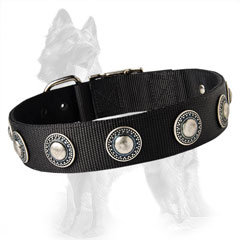 German Shepherd Nylon Dog Collar Made of 2 Ply Material Well Stitched