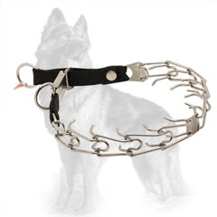 German Shepherd Pinch Collar Stainless Steel with Nylon Loop and Click Lock Buckle