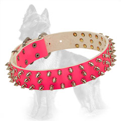 German Shepherd Pink Leather Dog Collar with Reliably  Riveted Hardware