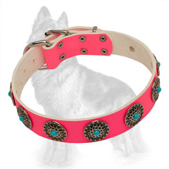 German Shepherd Pink Leather Dog Collar Decorated with  Elegant Circles and Blue Stones