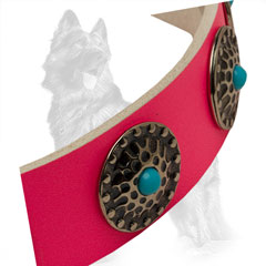 German Shepherd Pink Leather Dog Collar Colored with  Non-Toxic Paints