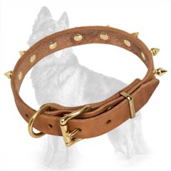 German-Shepherd Spiked Leather Dog Collar with Three Rivets near Buckle