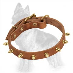 German-Shepherd Spiked Leather Dog Collar with One Row of Brass Spikes