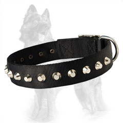 German Shepherd Two Ply Nylon Dog Collar Hand Stitched