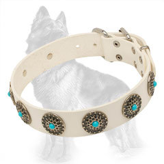 German Shepherd White Leather Dog Collar Decorated with  Elegant Circles and Blue Stones