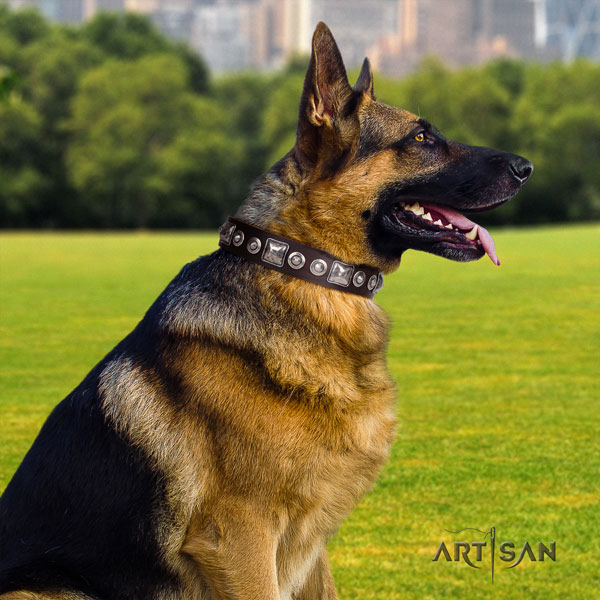 German Shepherd comfortable collar with unusual decorations for your four-legged friend
