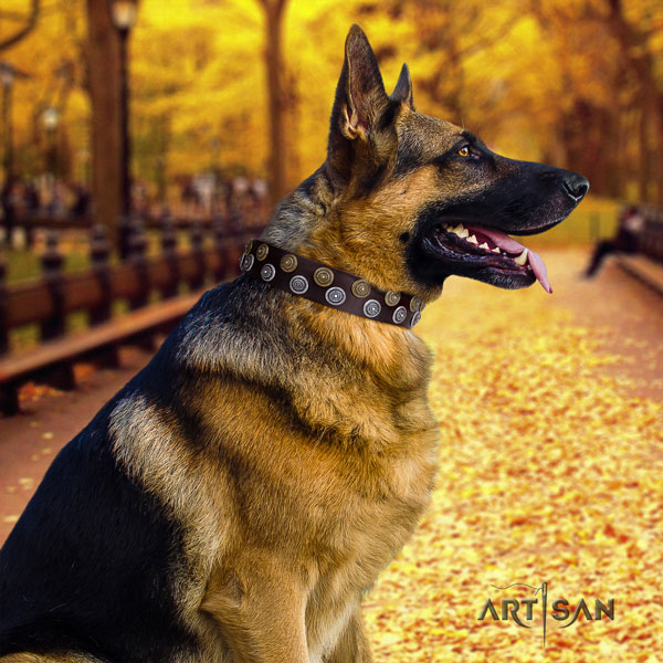 German-Shepherd easy adjustable collar with incredible decorations for your four-legged friend