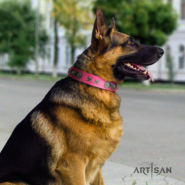 German-Shepherd handmade natural genuine leather collar with embellishments for your pet