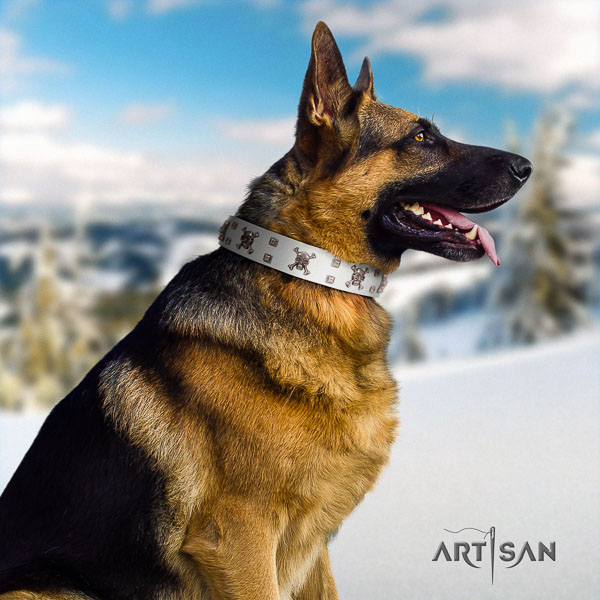 German-Shepherd exceptional natural genuine leather collar with adornments for your dog