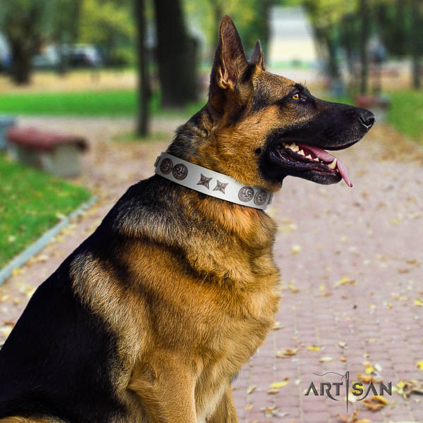 German-Shepherd trendy full grain natural leather collar with decorations for your pet