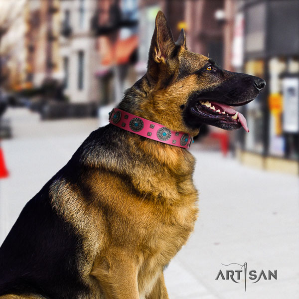 German Shepherd handcrafted leather collar with adornments for your canine