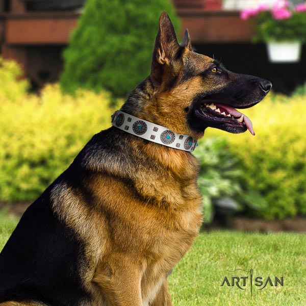 German-Shepherd designer full grain leather collar with studs for your doggie
