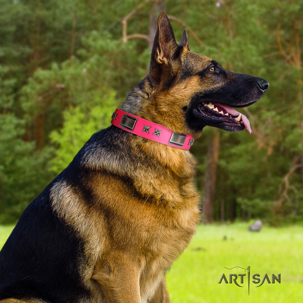 German-Shepherd convenient collar with trendy decorations for your four-legged friend