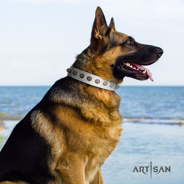 German Shepherd easy adjustable natural genuine leather collar with adornments for your canine