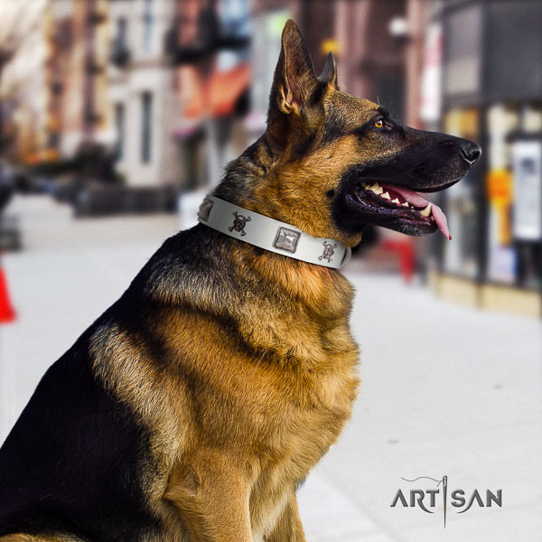 German-Shepherd inimitable full grain genuine leather collar with decorations for your four-legged friend