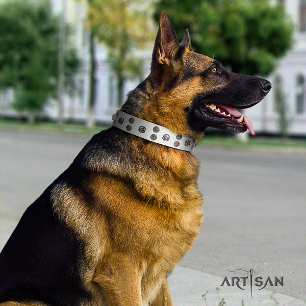 German Shepherd perfect fit full grain genuine leather collar with decorations for your doggie