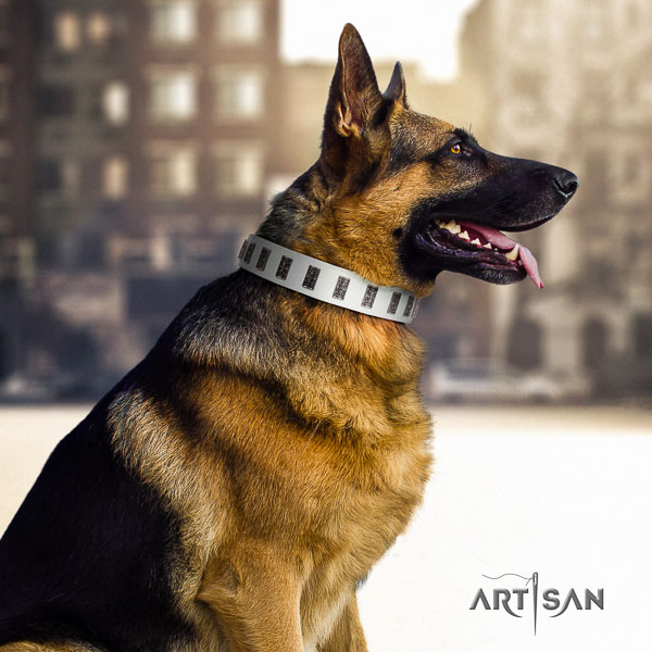 German-Shepherd remarkable leather collar with decorations for your doggie