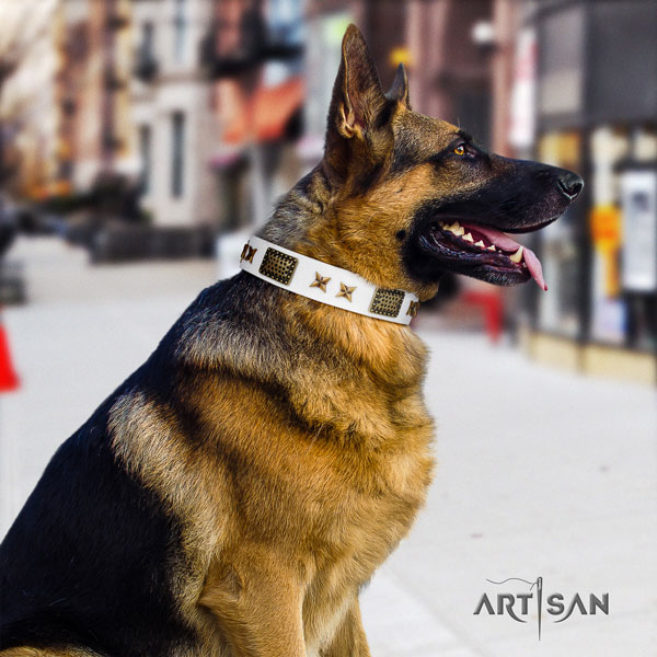 German-Shepherd handcrafted collar with designer adornments for your dog
