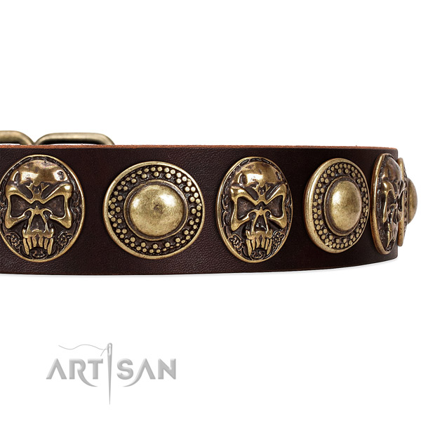 Natural genuine leather dog collar with studs for comfortable wearing