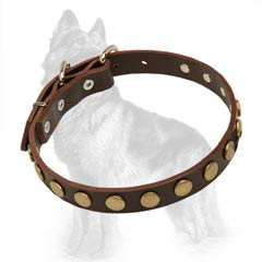 German Shepherd Decorated Leather Collar