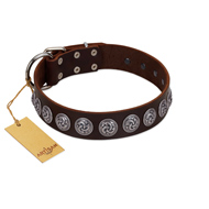 """Charming Circles"" FDT Artisan Brown Leather German Shepherd Collar with Silver-like Studs"