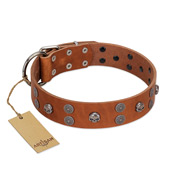 """Road Rider"" FDT Artisan Tan Leather German Shepherd Collar with Old Silver-like Skulls and Medallions"