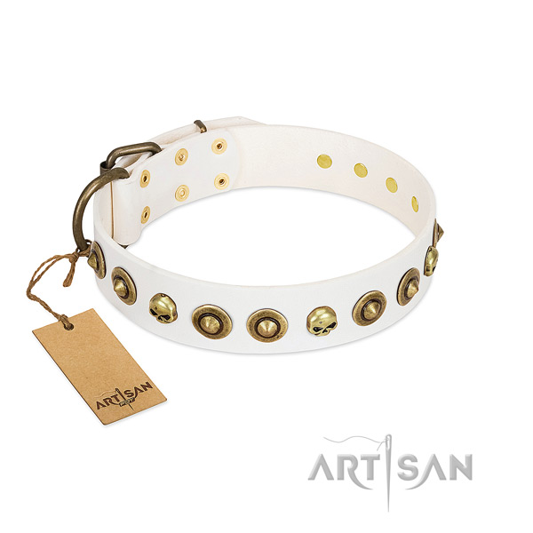 Full grain genuine leather collar with stunning embellishments for your canine
