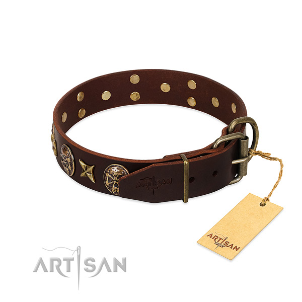 Genuine leather dog collar with rust-proof hardware and decorations