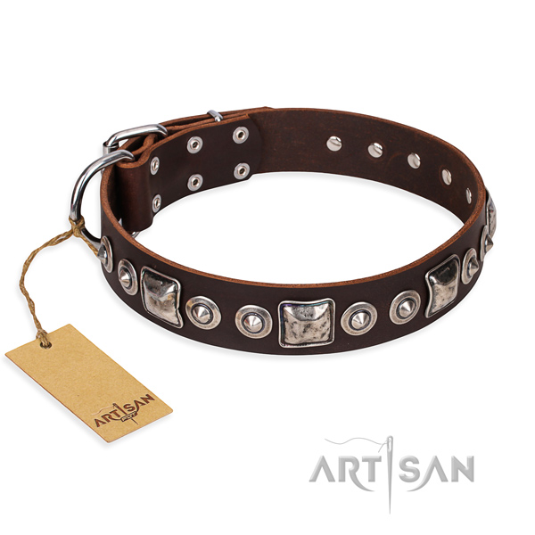 Full grain genuine leather dog collar made of soft to touch material with corrosion proof fittings