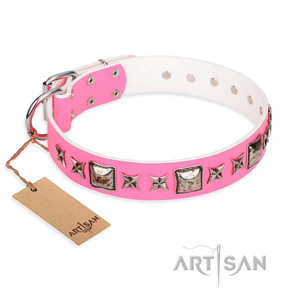 Genuine leather dog collar made of flexible material with corrosion resistant buckle