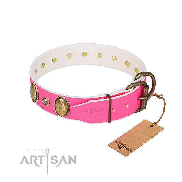 Easy wearing top rate full grain genuine leather dog collar