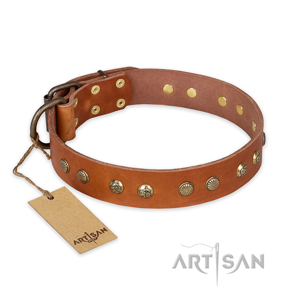 Adjustable natural genuine leather dog collar with reliable buckle