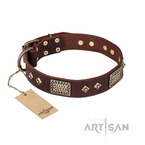 Stylish design full grain genuine leather dog collar for walking