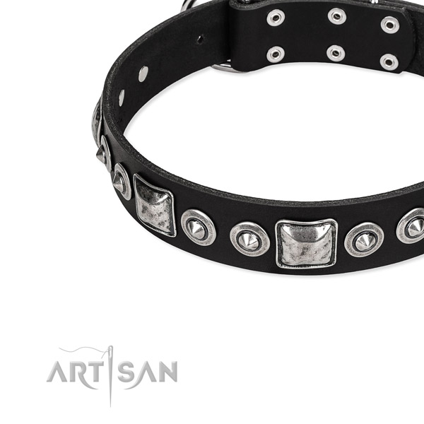 Full grain genuine leather dog collar made of flexible material with studs