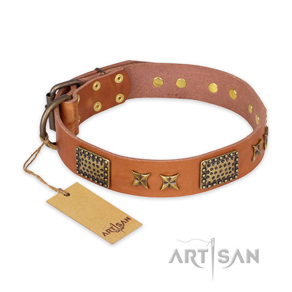 Adorned genuine leather dog collar with corrosion proof traditional buckle