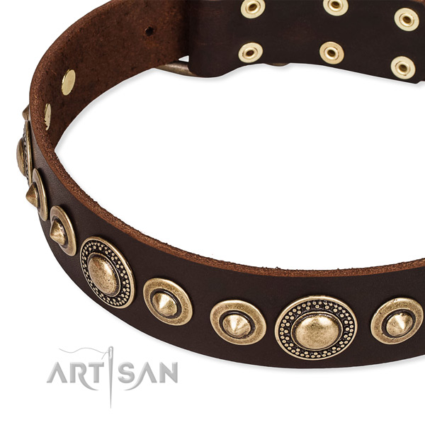 Flexible full grain genuine leather dog collar created for your beautiful four-legged friend