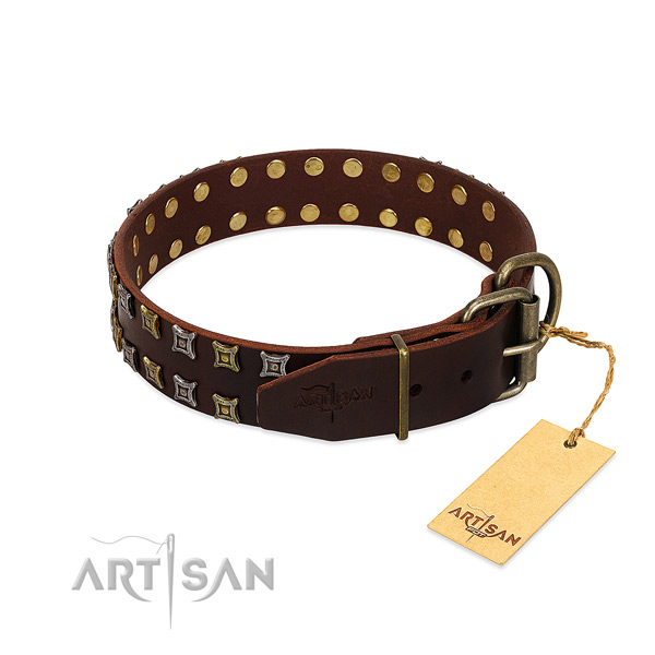 Durable leather dog collar handmade for your doggie