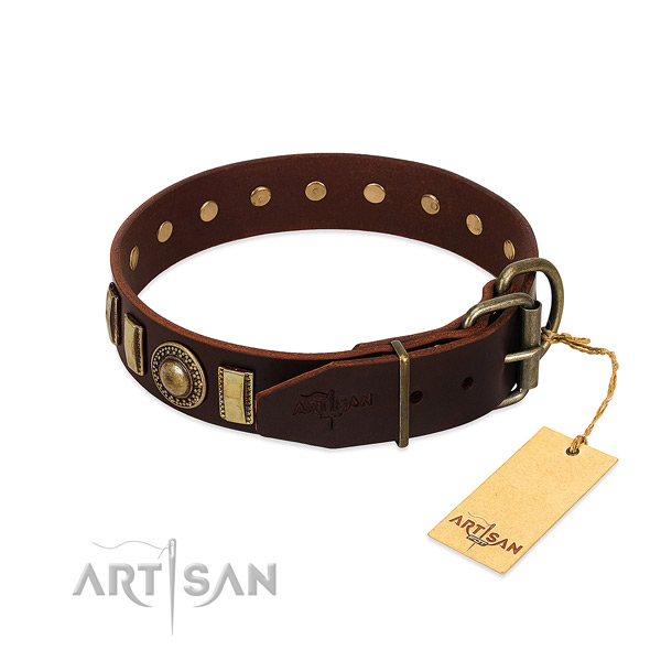 Awesome full grain leather dog collar with rust resistant hardware