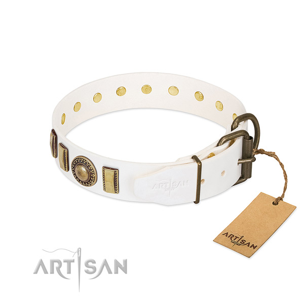 Top rate full grain natural leather dog collar made for your four-legged friend