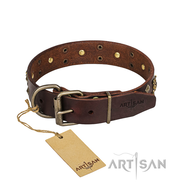 Easy wearing dog collar of top quality full grain natural leather with decorations