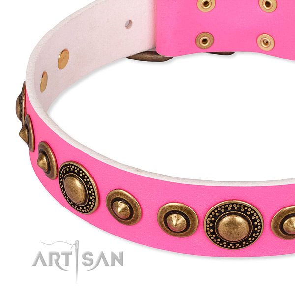 Soft full grain leather dog collar handmade for your impressive dog