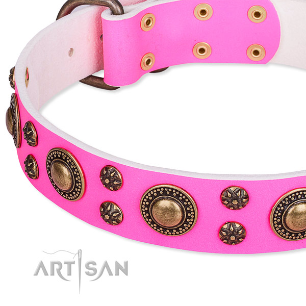 Comfortable wearing adorned dog collar of durable full grain natural leather