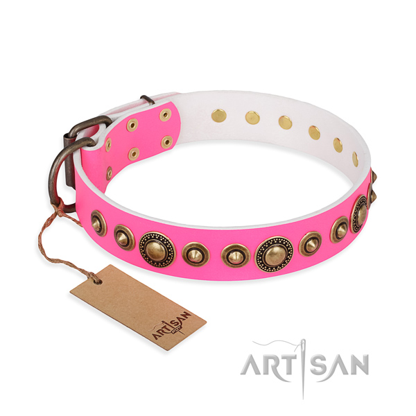 Reliable full grain genuine leather collar created for your pet