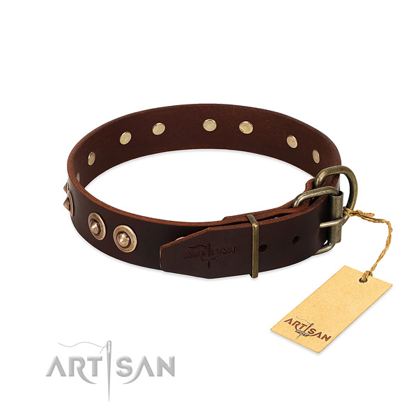 Durable decorations on natural genuine leather dog collar for your pet