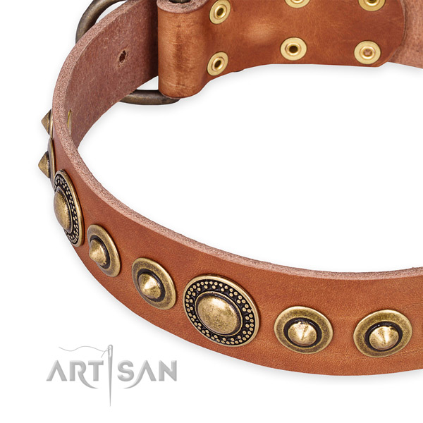 Gentle to touch full grain genuine leather dog collar handcrafted for your stylish pet