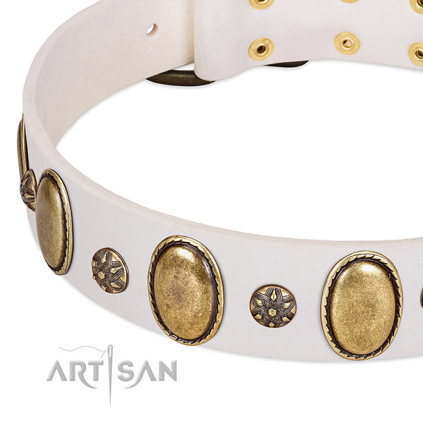 Stylish walking high quality natural genuine leather dog collar with embellishments