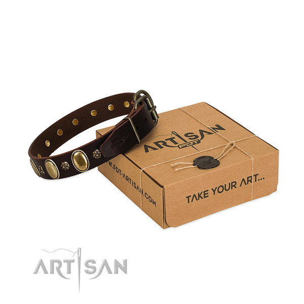 Everyday walking gentle to touch full grain genuine leather dog collar with embellishments