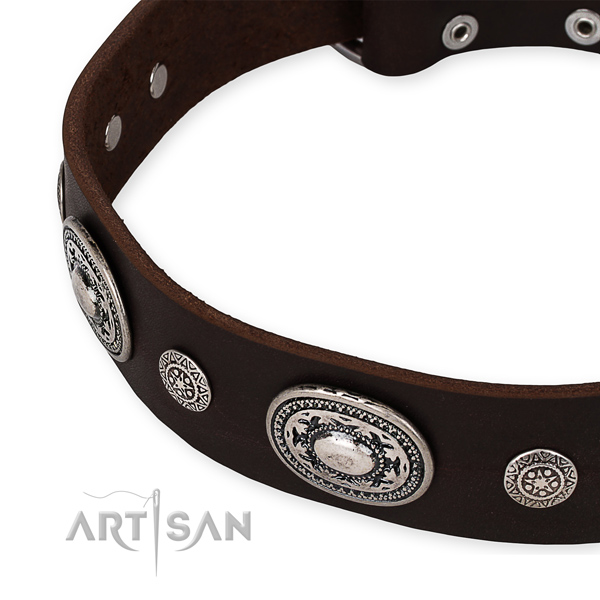 Top notch leather dog collar handmade for your attractive doggie